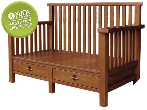 沙發【YUDA】安德魯 硬質楊木 二抽 雙人/二人 沙發/沙發椅 (附抱枕 坐墊) J5F165-2