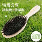 【特價梳】╭★ 櫸木豬鬃梳 + 梳子清潔刷