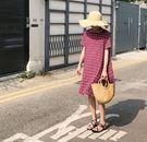 夏季新款寬鬆中長款休閒文藝格子短袖連衣裙(兩色可選)