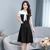 洋裝中大尺碼 甜美大碼連身裙顯瘦減齡2021夏季新款氣質女裝胖mm收腰遮肚中長款裙子