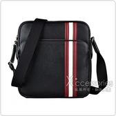 BALLY Sorel金屬LOGO紅白紅條紋設計牛皮拉鍊斜背包(黑)