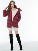 3折出清[H2O]V型車縫顯瘦帶帽羽絨中長版外套 - 紅/藍/粉色 #8667001