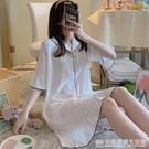 睡裙女夏季簡約白色寬鬆半袖冰絲春秋薄款睡衣仿真絲綢短袖家居服 完美居家