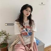 韓版chic寬鬆卡通印花內搭短袖T恤女夏季2021新款學生打底衫上衣 「快速出貨」青木鋪子