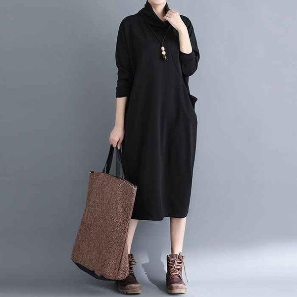 漂亮小媽咪 秋冬洋裝 【D6665】 高領 大碼 顯廋 修身 立體口袋 長裙洋裝 寬鬆 中大尺碼