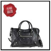 巴黎世家CLASSICGOLDCITYS小銀扣手提/斜背機車包(黑色)4316 全新商品
