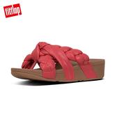 限定優惠價!【FitFlop】扭結系列 PLATT LEATHER TOE-THONGS 髮辮造型夾腳涼鞋(熱情紅)
