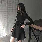 2018早秋新款女裝chic裙長袖修身打底針織連身裙秋冬a字裙子顯瘦