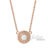 茱麗葉精品【全新現貨】COACH 91445 限定 白水晶圓形鑲鑽造型項鍊.玫瑰金