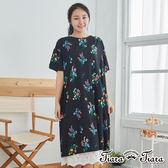 【Tiara Tiara】百貨同步 花葉平口半袖寬版洋裝(白/黑)