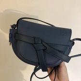 ■專櫃77折 ■Loewe全新真品 迷你 Mini Gate 粒面小牛皮緞帶斜背包 鋼鐵藍