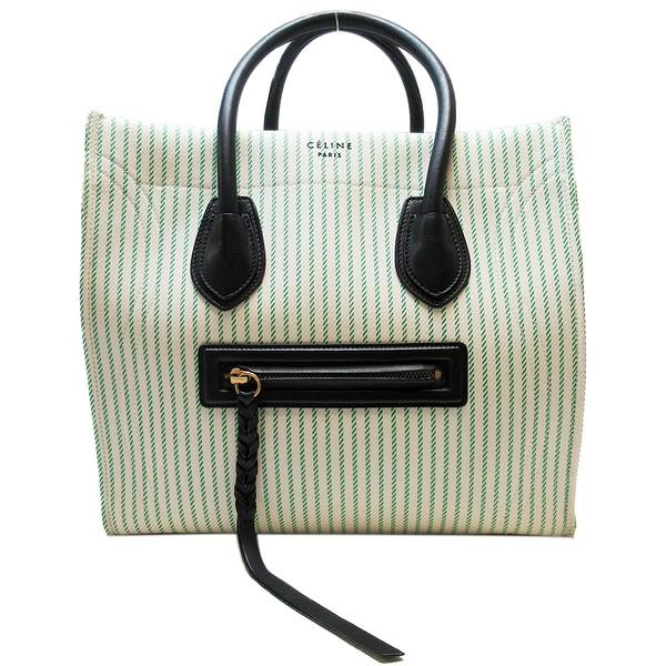 CELINE 賽琳 白綠線條帆布材質手提肩背2way包 笑臉包 囧包 Luggage Phantom