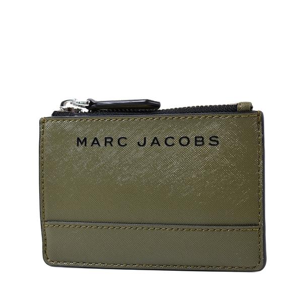 美國正品 MARC JACOBS 黑色LOGO防刮皮革證件/鑰匙零錢包-軍綠【現貨】