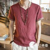 中國風男裝刺繡亞麻T恤男短袖寬松大碼薄款休閑盤扣復古棉麻上衣-奇幻樂園