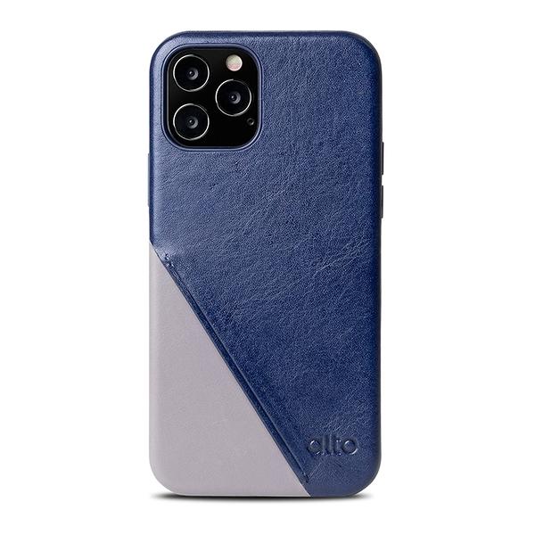Alto iPhone 12 / 12 Pro 通用款 真皮手機殼背蓋 6.1吋 Metro 360 - 海軍藍/礫石灰【可加購客製雷雕】