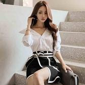 歐媛韓版 秋裝新款白色韓國襯衫 女正裝襯衣ol職業裝心機漏上衣長袖寬鬆鎖骨