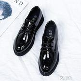 布洛克鞋厚底小皮鞋女韓版百搭漆皮鬆糕平底英倫布洛克繫帶單鞋女   艾維朵