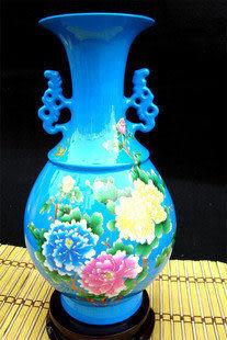 zg-j03 景德鎮 陶瓷 粉彩藍底 雙耳玉壺春 花冠吟 花瓶 結婚禮品