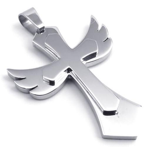 《QBOX 》FASHION 飾品【C10022273】精緻個性天使翅膀十字架316L鈦鋼墬子項鍊(銀色)