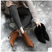 S2019秋冬季新款短靴女鞋子韓版百搭高跟細跟尖頭貓跟網紅瘦瘦靴子