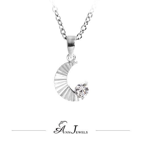 【AnnJewels‧925純銀‧刻紋月亮.鋯石/鑽石項鍊】可客製化鑽石珠寶銀飾禮品
