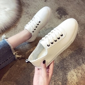 新款加絨小白鞋女百搭板鞋韓版休閒運動鞋平底學生繫帶單鞋女 探索先鋒
