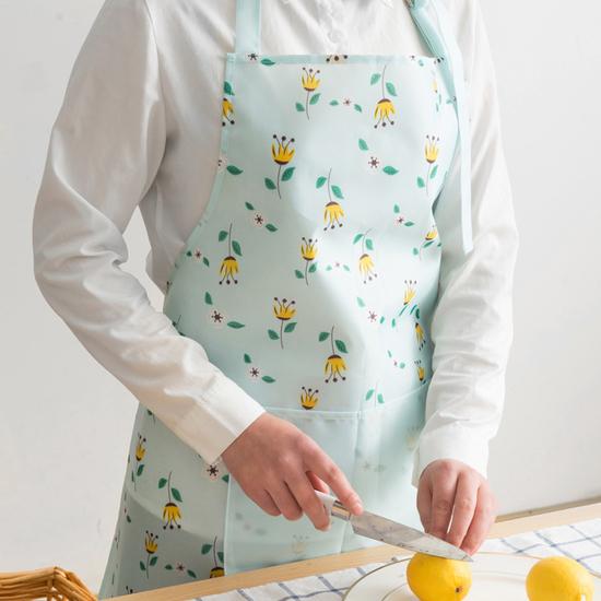 清新圖案居家圍裙 防水 廚房 料理 烘焙 工作 無袖 家居 防髒 口袋【N154】MY COLOR