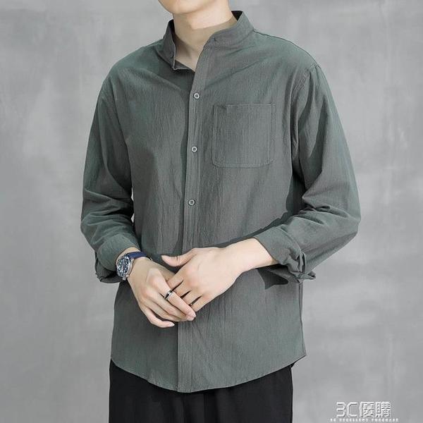 亞麻襯衫男長袖襯衣寬松男裝秋季純棉麻中國風男士休閒外套上衣服 3C優購
