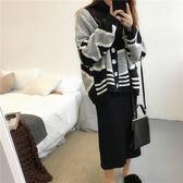 保暖黑白拼色毛衣外套韓版寬鬆慵懶開襟