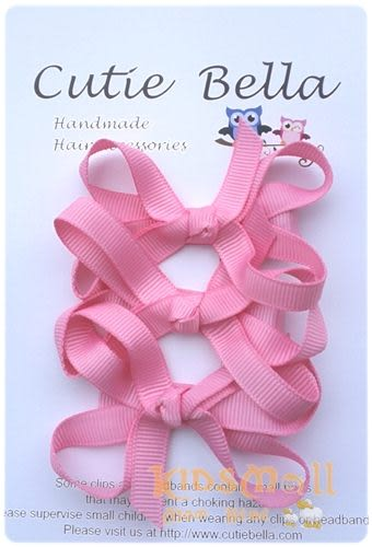 Cutie Bella蝴蝶結髮夾三入組-Rose Pink