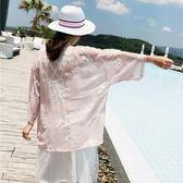 民族風刺繡花朵粉嫩和服薄外套 泰國度假小清新雪紡開衫防曬衣女【販衣小築】