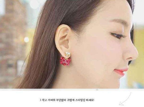 star 日韓系列 - 時尚玫瑰球水晶耳環-D4243