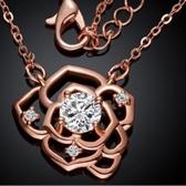 項鍊 玫瑰金純銀 鑲鑽吊墜-時尚玫瑰花生日情人節禮物女飾品3色73br96【時尚巴黎】
