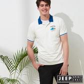 【JEEP】簡約運動風休閒短袖POLO衫-白