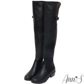 Ann'S貼腿版-後V口開叉彈力皮革側拉鍊過膝靴-黑