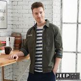 【JEEP】舒適輕薄襯衫式外套-墨綠