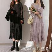 雪紡洋裝2019新款韓版氣質雪紡中長裙子長袖法式洋裝女  【全網最低價】