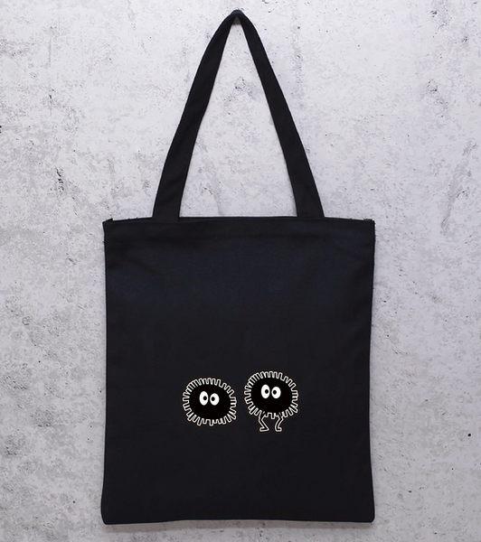 黑色小黑炭(有拉鍊)帆布包單肩包帆布包-蛋妹的店
