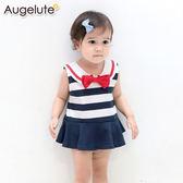 無袖包屁裙 海軍領 水手服造型 女寶寶 連身衣 爬服 哈衣 Augelute Baby 32018