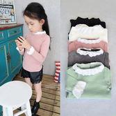 女童 韓 內搭衣 衛衣 蕾絲領口 棉質 女童長袖上衣 五色 寶貝童衣