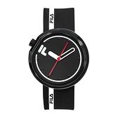 【FILA 斐樂】月蝕系列簡約線條設計腕錶-霸氣黑/38-161-107/台灣總代理公司貨享兩年保固