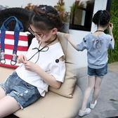 女童露肩上衣夏 2020新款韓版中大童半袖衫洋氣兒童寬鬆短袖t恤潮 歐歐