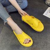 拖鞋女夏季外穿2019新款百搭韓版ulzzang時尚厚底鬆糕沙灘涼拖鞋