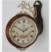 歐式實木雙面掛鐘 田園創意兩面鐘錶 簡約靜音客廳麗聲機芯掛錶【290大號木色】