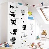 【BlueCat】下雨盆栽小黑貓卡通裝飾壁貼 (30*45cm)