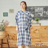 【Tiara Tiara】百貨同步 流蘇綁帶格紋開釦5分袖洋裝(藍/卡其)