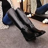 真皮過膝靴-簡約個性皮帶扣時尚低跟女長靴73iv47[時尚巴黎]