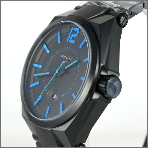【萬年鐘錶】elegant大錶徑 時尚錶(黑藍) ELJT61-2U04MA