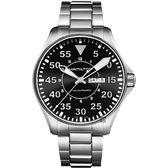 【贈送皮錶帶】Hamilton 漢米爾頓 Khaki Aviation卡其飛行機械手錶-黑x銀/46mm H64715135