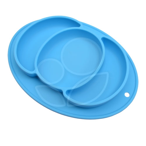 Expect 兒童矽膠餐盤(南瓜款) - 藍色【佳兒園婦幼館】